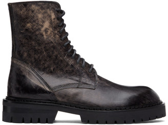 Ann Demeulemeester SSENSE Exclusive Black Distressed Tucson Lace-Up Boots