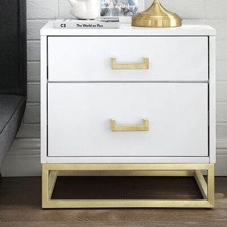Nicole Miller Raees 2 Drawer Nightstand Color: White/Gold