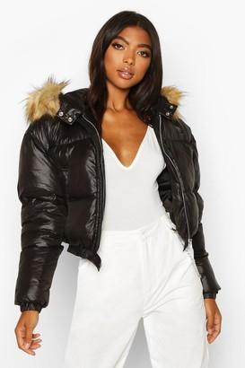 boohoo Tall Faux Fur Hooded Crop Padded Coat