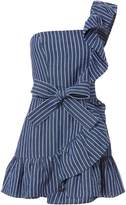Alexis Konner One Shoulder Striped Denim Dress