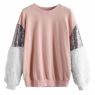 Mingfa.Y Sweatshirt Clearance Sale Mingfa Women Teen Girls Fashion Sequin Fleece Long Sleeve Tops Blouse Casual O-Neck Pullover Sweatshirt Shirt (Pink S-UK 8)