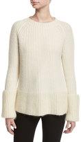 Moncler Wide Gauge Crewneck Sweater, White