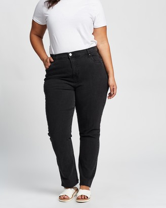 Cotton On Curve - Women's Black Straight - Curve Original Sienna Fit Jeans - Size 16 at The Iconic