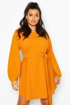 boohoo Plus Blouson Sleeve Belted Shift Dress
