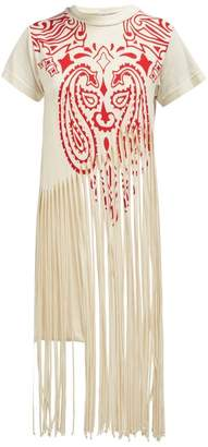 Loewe Fringed Cotton And Silk Blend T Shirt - Womens - Red Print