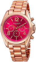 Akribos XXIV Womens Pink Dial Rose Gold-Tone Bracelet Watch