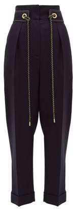 Peter Pilotto Cropped High Rise Tweed Trousers - Womens - Navy