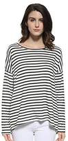 Blooming Jelly Women's Long Sleeve Black and White Stripe Hi Low Loose Fit Plaid T Shirt Tops