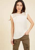 ModCloth Creative Mixer Sleeveless Top in Parchment in L