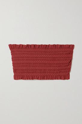 Tory Burch Costa Shirred Bandeau Bikini Top - Brick