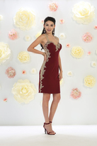 May Queen - Dazzling Laced and Embellished Sweetheart Neck A-Line Short Dress MQ1472