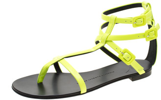 Giuseppe Zanotti Neon Green Leather Ankle Strap Flat Sandals Size 37