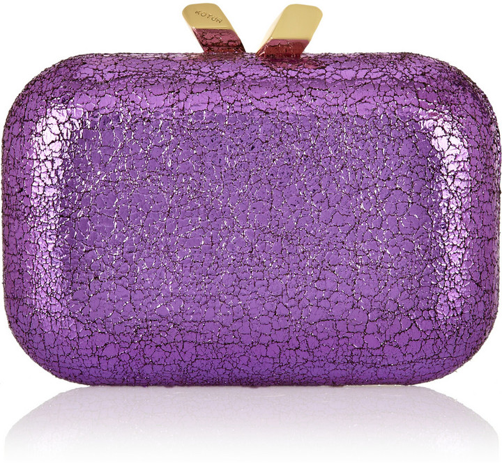 Kotur Margo metallic cracked faux leather box clutch