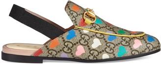 Gucci Children's Princetown GG hearts slipper