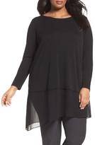 Eileen Fisher Plus Size Women's Stretch Silk Jersey & Crepe Tunic