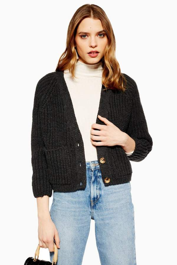 Topshop PETITE Button Cropped Cardigan