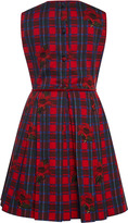 Oscar de la Renta Tartan Floral Cotton Party Dress