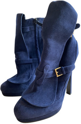 Alexander McQueen Blue Suede Ankle boots