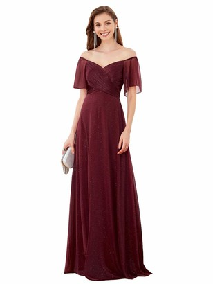 Ever Pretty Ever-Pretty Women's V Neck Off The Shoulder Ball Gowns with Short Sleeve Empire Wasit A Line Evening Dresses with Glitter Burgundy 8UK