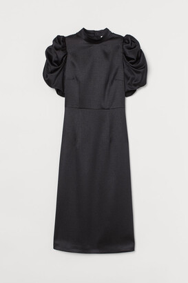 H&M Puff-sleeved Satin Dress - Black
