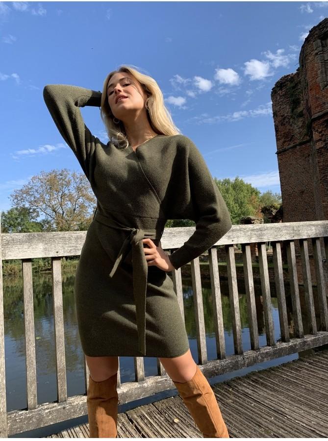 Thumbnail for your product : Little Mistress Rens Khaki Mock Wrap Knit Dress