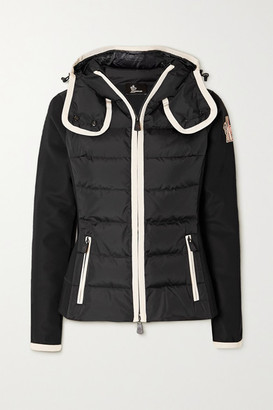 MONCLER GRENOBLE Hooded Paneled Quilted Shell And Neoprene Jacket - Black