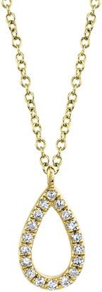 Ron Hami 14K Yellow Gold Pave Diamond Pear Shape Pendant Necklace - 0.06 ctw