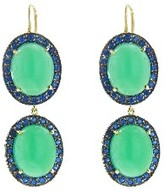 Andrea Fohrman Double Oval Chrysoprase and Blue Sapphire Drop Earrings - Yellow Gold