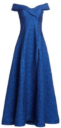Teri Jon by Rickie Freeman Off-The-Shoulder Jacquard Ball Gown
