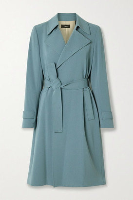 Theory Oaklane Belted Crepe Coat - Light blue