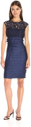 London Times Women's Swirl Lace Fitted Shimmer Shutter Dress with Beaded Neckline