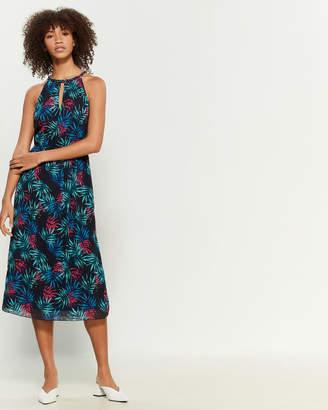 Apricot Leaf Print Midi Dress