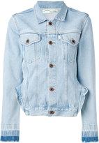 Off-White frill detail denim jacket - women - Cotton - M