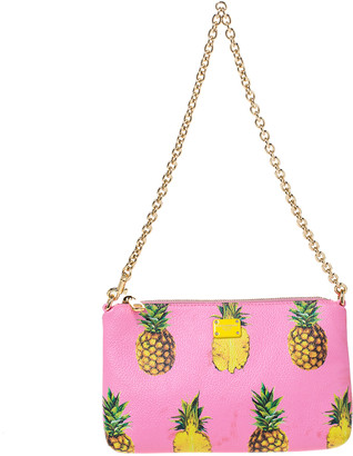 Dolce & Gabbana Pink Pineapple Print Leather Chain Clutch