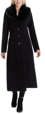 Anne Klein Faux-Fur Shawl-Collar Maxi Coat