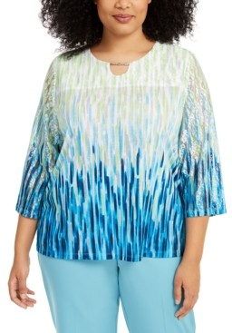 Alfred Dunner Plus Size Easy Street Printed Lace-Sleeve Top