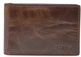 Fossil Men's Derrick Leather Money Clip Bifold Wallet - Brown
