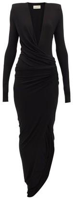 Alexandre Vauthier Plunge-neck Ruched Slit-front Gown - Womens - Black