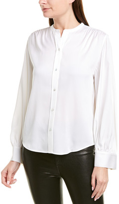 Vince Shirred Silk-Blend Blouse
