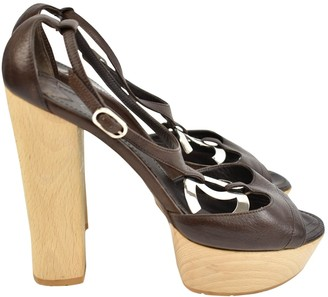 Chanel Brown Leather Sandals