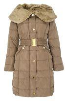 Quiz Stone Padded Big Faux Fur Collar Jacket