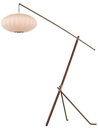 One Kings Lane Ashton Adjustable Floor Lamp - Walnut/Brass