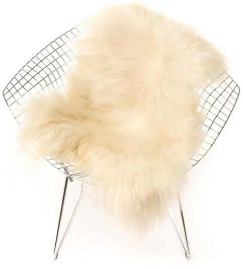 The Organic Sheep - Long Haired Icelandic Sheepskin Rug - WHITE - Black/White