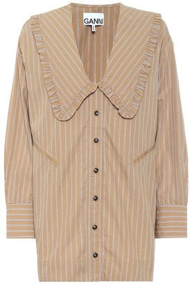 Ganni Striped oversized cotton blouse
