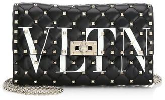 Valentino Rockstud Spike VLTN Leather Crossbody Clutch
