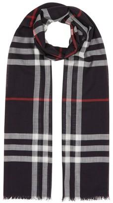 Burberry Lightweight Check Wool-Silk Scarf