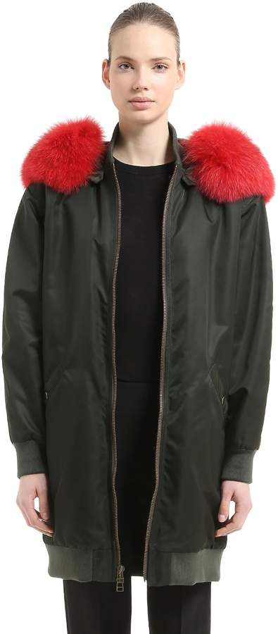 Mr & Mrs Italy Long Bomber Coat W/ Fur