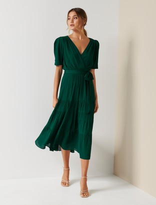 Forever New Jordan Puff Sleeve Tiered Midi Dress - Green - 4