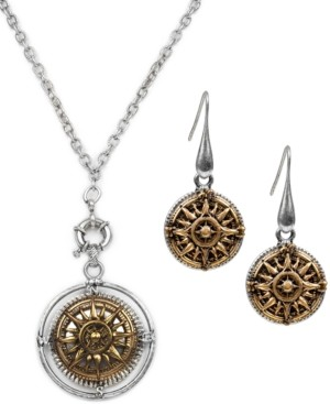 Patricia Nash Two-Tone Compass Pendant Necklace & Drop Earrings Set