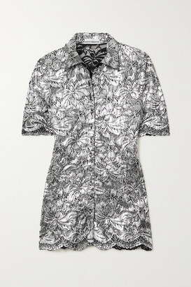 Paco Rabanne Metallic Coated Corded Lace Blouse - Silver